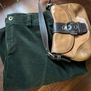 Bass Dark Green Corduroy A-Line Knee Length Skirt